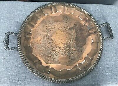 Vintage Unbranded Copper Serving Tray Platter with Brass Handles & Etched Design