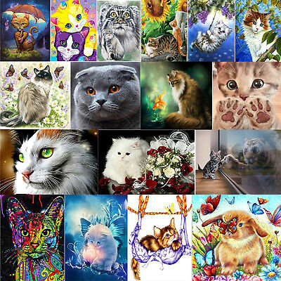 Cat DIY 5D Diamond Painting Embroidery Cross Crafts Stitch Kit Home Gift Decor