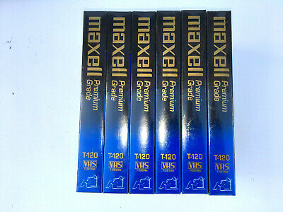 Lot of 6 Sealed Maxell Blank Video Cassette 6 Hours Premium Grade VHS T-120 VCR
