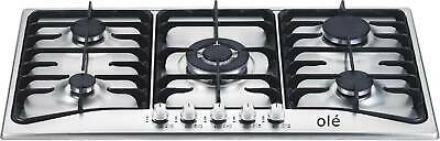 86cm STAINLESS STEEL 5 BURNER GAS COOKTOP - BRAND NEW IN BOX - LPG JETS INCLUDED