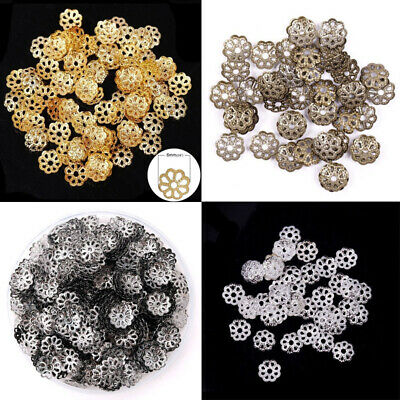 500Pcs 6mm Gold Silver Plated Flower Hollow Flower End Beads Caps DIY Jewelry FA