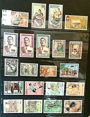 2.6.V.   super lot de 26 timbres du Laos dont 11 neufs  T.B.E  voir description.
