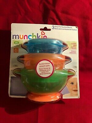 Munchkin Stay Put Suction Bowl Bowls  3 Count New Sealed Green Orange Blue