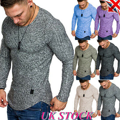 Mens Long Sleeve Slim Fit Muscle T-Shirt Tee Crew Neck Casual Sport Gym Tops UK