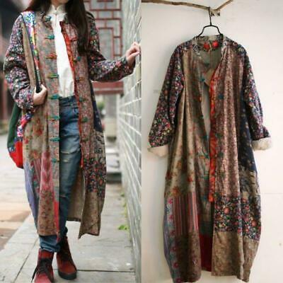 100% Cotton Linen Folk Art Women Maxi Long Button Floral Loose Dress Coat Jacket