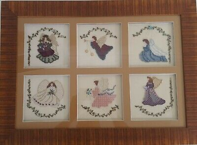 """Angels in the Window"" -Mill Hill Beading, Cross Stitch & Gold Thread Embroidery"