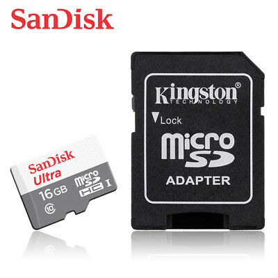SanDisk Ultra New 16GB microSD SDHC Flash Memory Card 80MBs C10 + Free ADAPTER
