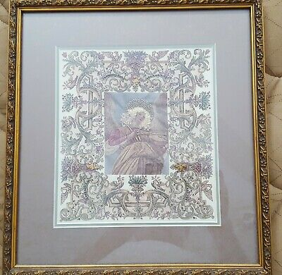 Archangel - Framed Gold Thread, Beading & Mixed Embroidery on Silk - 35 x 32 cms