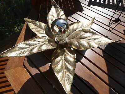 LAMPE FLEUR APPLIQUE VINTAGE 1970 MASSIVE JANSEN ERA / BRASS flower wall lamp