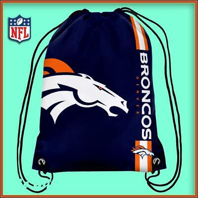 Denver Broncos Drawstring Crest Gym / Sports / School Bag Official Nfl New
