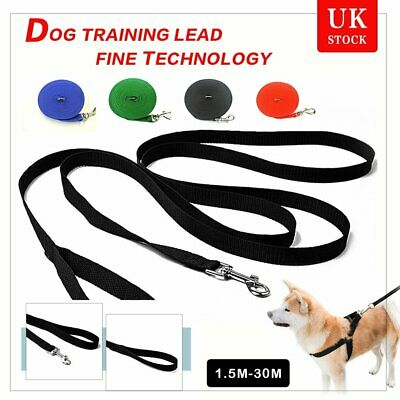 Pet Dog Puppy Training Lead 50ft 15M Long Line Leash Collar Harness Rope 4Colour