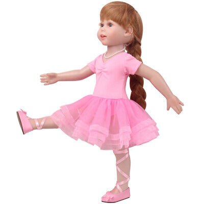 "1 Set 18"" American Doll Dress Ballet Skirt Doll Clothes Doll Accs -Pink"