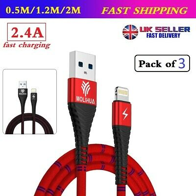 3X Long Braided USB Quick Charger Data Charging Cable Lead For iPhone X 6s 7 8 P