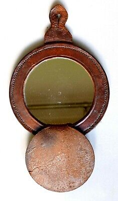 Antique Leather Folding Campaign Mirror. Travelling Military, Shaving, Dressing