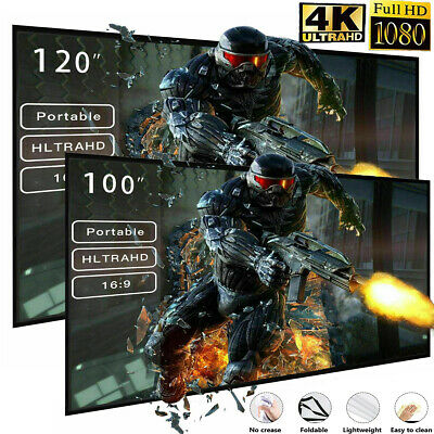 USA 100/120inch Portable Foldable Projector Screen 16:9 HD Home Theater 3D Movie