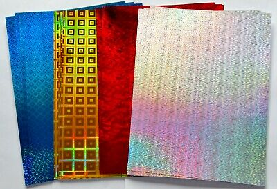 16 A4 Sheets Silver, Red, Gold & Blue Holographic Card Christmas Crafts