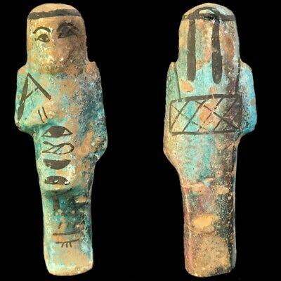 EGYPTIAN HIEROGLYPHIC SHABTI, LATE PERIOD 664 - 332 BC (2) Large Over 11 cm !!!!