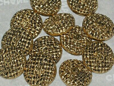 Chanel 11 Cc Logo  Antique Gold Metal Buttons  10  Mm/Under 1/2''  New Lot 11