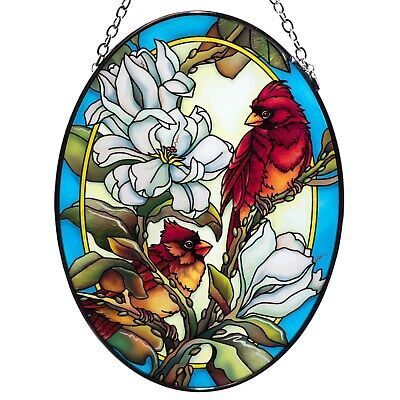 Orchard Cardinals Bird Suncatcher Hand Painted Glass By AMIA Studios 4.5 x 3.25/""