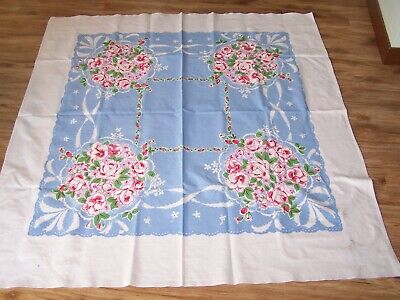"Vintage Heavy Cotton Tablecloth  White Blue  With Flowers 28"" X 56"""