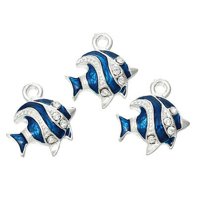 5 x Stunning Silver Plated Blue Enamel Fish Charms with Rhinestones 18x17mm