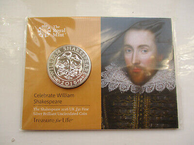 2016 UK Royal Mint £50 pound Shakespeare one ounce 999 silver sealed low mintage