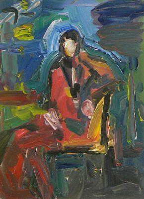 Jose Trujillo Oil Painting Abstract Expressionism Figurative Person Sitting Art