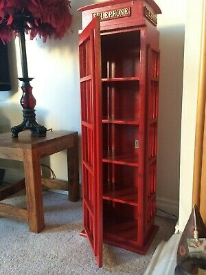 Retro Style London Telephone box - Cd Dvd storage cabinet. 100 cds