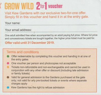 Kew Gardens 2 for 1 Money Off Entry Ticket Voucher Coupon - 1st Class Post