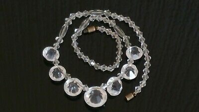 Czech Vintage Art Deco Clear Crystal Bead Necklace