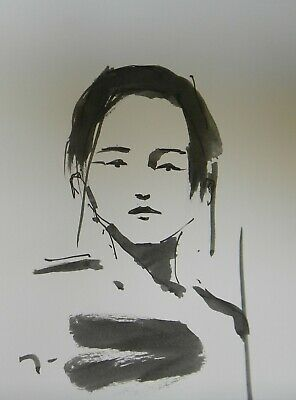 """JOSE TRUJILLO ABSTRACT EXPRESSIONISM INK WASH Woman Girl Portrait New 9x12"""""""