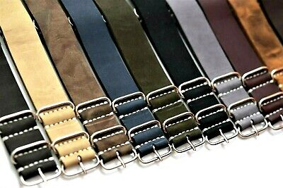 Genuine Leather Military Watch Band AMO NATO Army strap Handmade 18-26mm