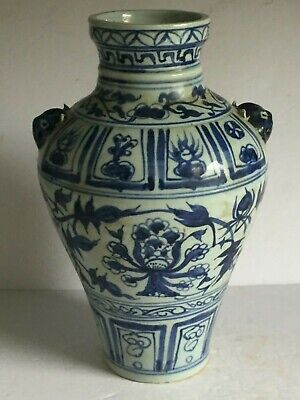 Vintage Antique Blue White CHINESE Porcelain Vase Applied Head Handles 13""