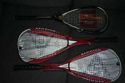 3 x  SQUASH RACKETS incl DUNLOP c-max lite ti with covers & wilson rally 6000