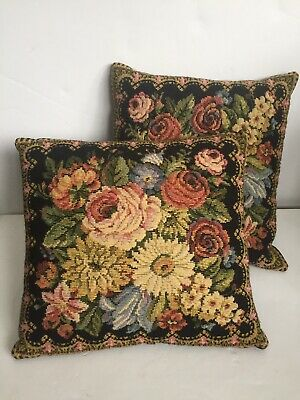 Vintage French Cottage Roses Gorgeous Pair Of Tapestry Pillow Beautiful Colors