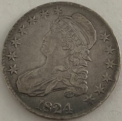 1824 50c Capped Bust Silver Half Dollar Remodeled Normal Date XF