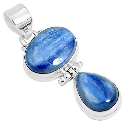 16.05cts Natural Blue Kyanite Oval 925 Sterling Silver Pendant Jewelry P27010