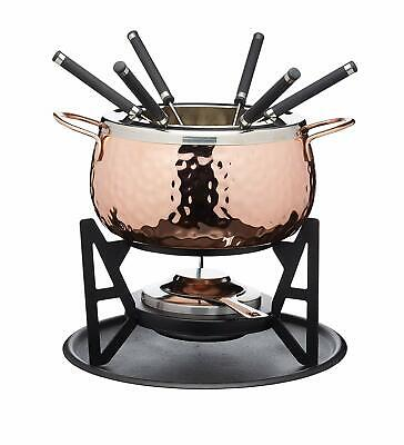 Artesa Hammered Copper Finish six, person Fondue Set, Stainless steel, New+ 24h