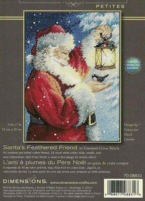 Dimensions Gold Cross stitch kit petite Santa's Feathered Friend 70-08831 NIP