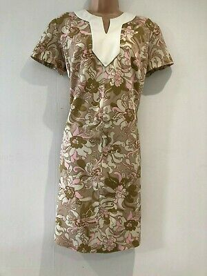 Vintage 60's Mod Beige Cream & Pink Floral Print Scooter Shift Dress Size 16