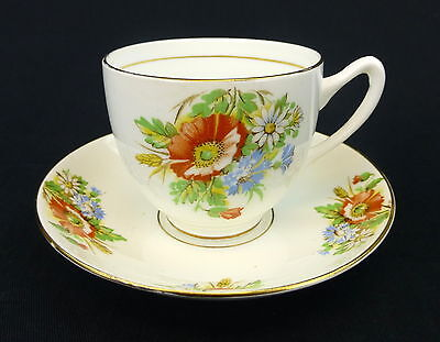 Duchess Cup and Saucer Flat Coupe Bone China England Orange Poppy Flower Bouquet