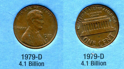 1979 D ABE Lincoln Memorial AMERICAN PENNY 1 CENT US U.S AMERICA ONE COIN #B1