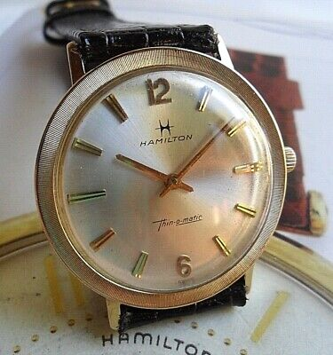 SOLID 14k Gold Vintage 1960's Men's Hamilton Thin-O-Matic Automatic Swiss Watch