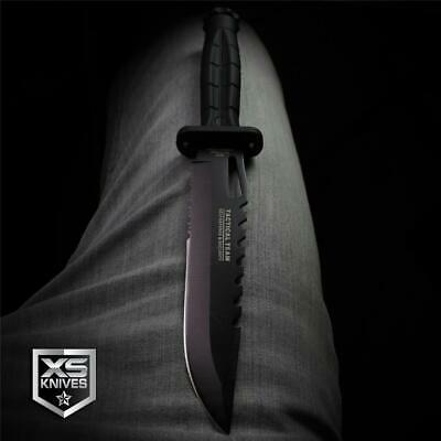 "Hunt-Down 11.75"" BLACK Tactical Hunting Combat DAGGER Survival BOWIE Knife"