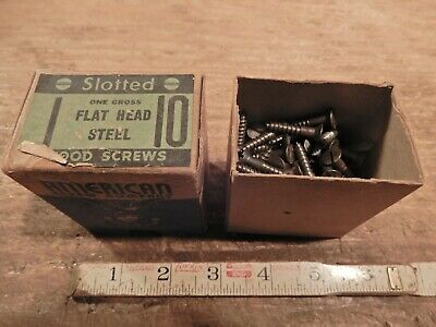 antique wood screws 1 in. X #10 vintage box lot flat head woodworking fastener