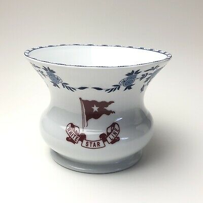 Titanic Artifact Collection Authentic Replica Spittoon / Vase White Star Line
