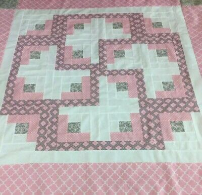 """Log Cabin Quilt Top~Pink,& Grey~Pieced~43"""" Sq. Lap, Baby, Decor."""
