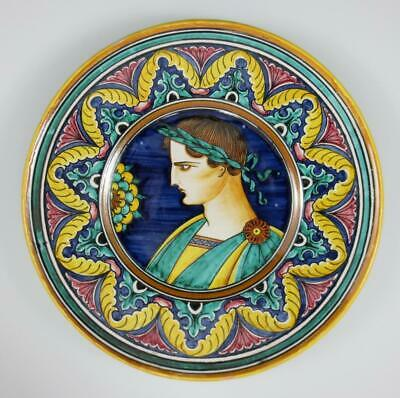 "Vintage DERUTA ITALY 8.25"" Hand Painted PORTRAIT PLATE Italian Pottery"