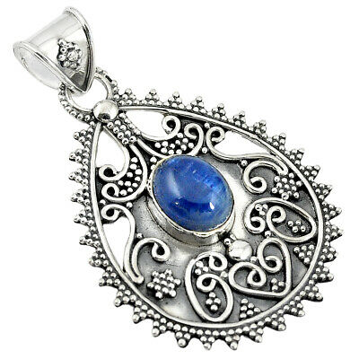 Natural Blue Kyanite Oval Shape 925 Sterling Silver Pendant Jewelry M24569