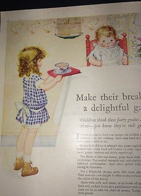 Quaker Cereal Puffed Wheat Ad Cute Kids Great Art Signed Kirkbride? 1920s